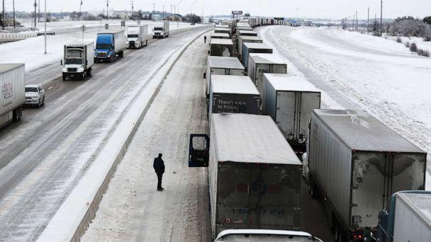PHOTO: Vehicles are at a standstill southbound on Interstate Highway 35, Feb. 18, 2021, in Killeen, Texas. (Joe Raedle/Getty Images)