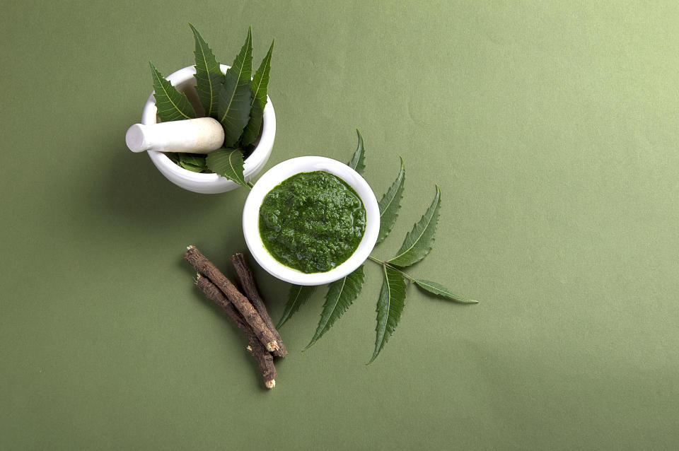 Medicinal Neem leaves in mortar and pestle with neem paste and twigs on green background