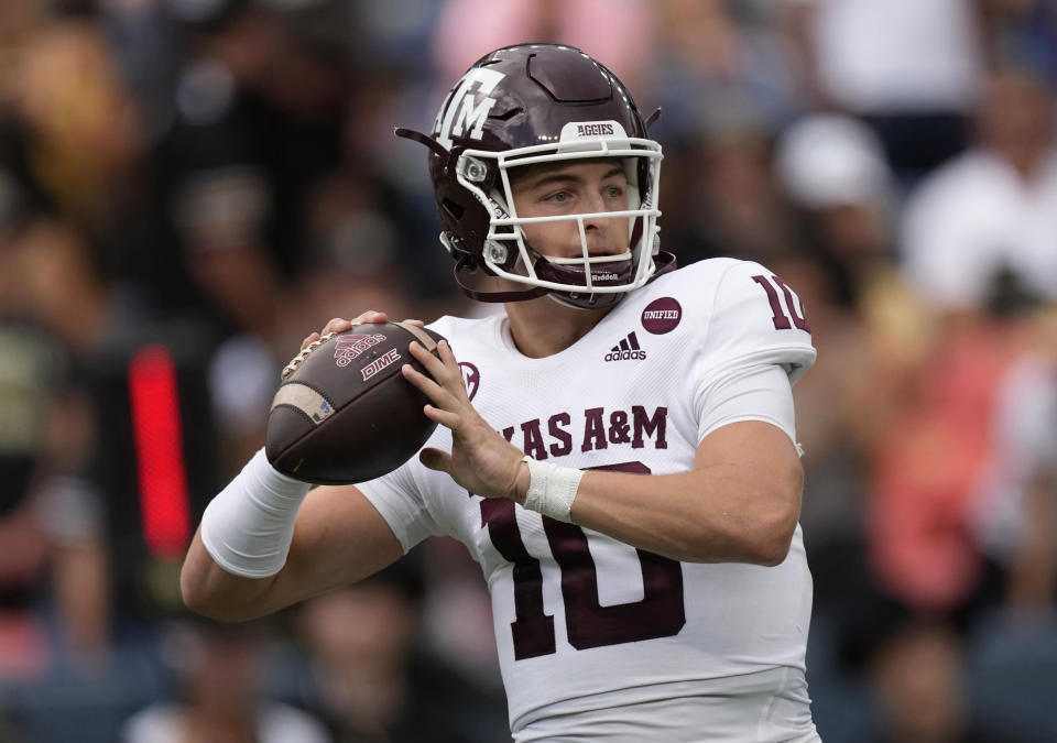 FILE - In this Saturday, Sept. 11, 2021 file photo, Texas A&M quarterback Zach Calzada (10) in the first half of an NCAA college football game in Denver. Texas A&M plays Arkansas Saturday, Sept. 25, 2021. (AP Photo/David Zalubowski, File)