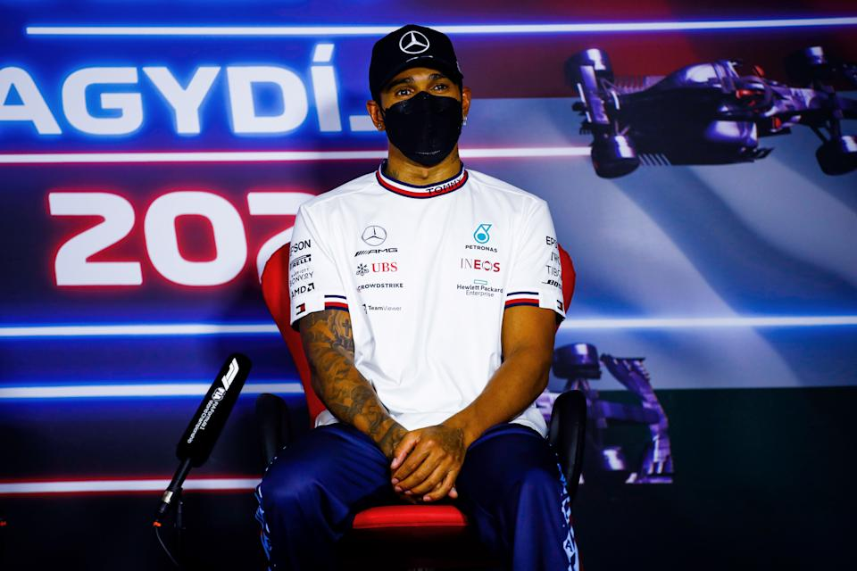 BUDAPEST, HUNGARY - AUGUST 01: Third placed Lewis Hamilton of Great Britain and Mercedes GP talks in the press conference after   the F1 Grand Prix of Hungary at Hungaroring on August 01, 2021 in Budapest, Hungary. (Photo by Xavi Bonilla - Pool/Getty Images)