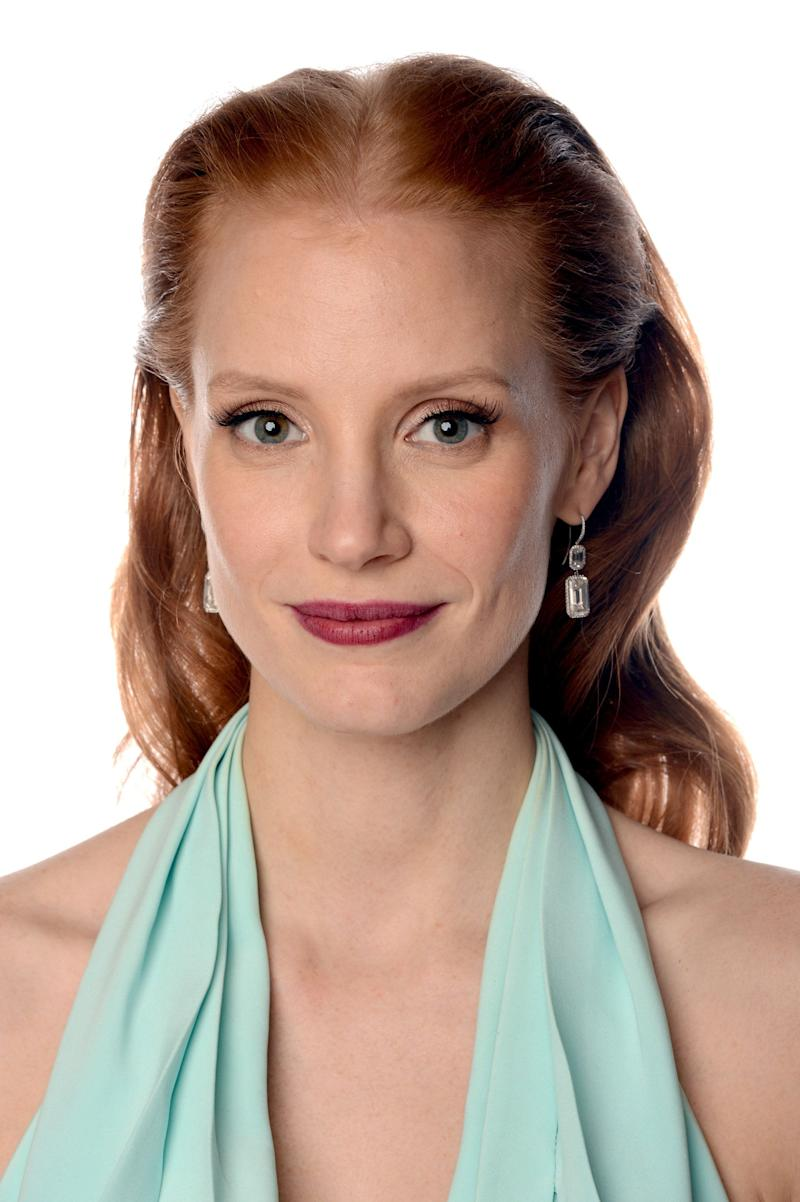 BEVERLY HILLS, CA - JANUARY 13: Actresses Jessica Chastain, winner of Best Performance by an Actress in a Motion Picture - Drama Award for 'Zero Dark Thirty' poses for a portrait at the 70th Annual Golden Globe Awards held at The Beverly Hilton Hotel on January 13, 2013 in Beverly Hills, California. (Photo by Dimitrios Kambouris/Getty Images)