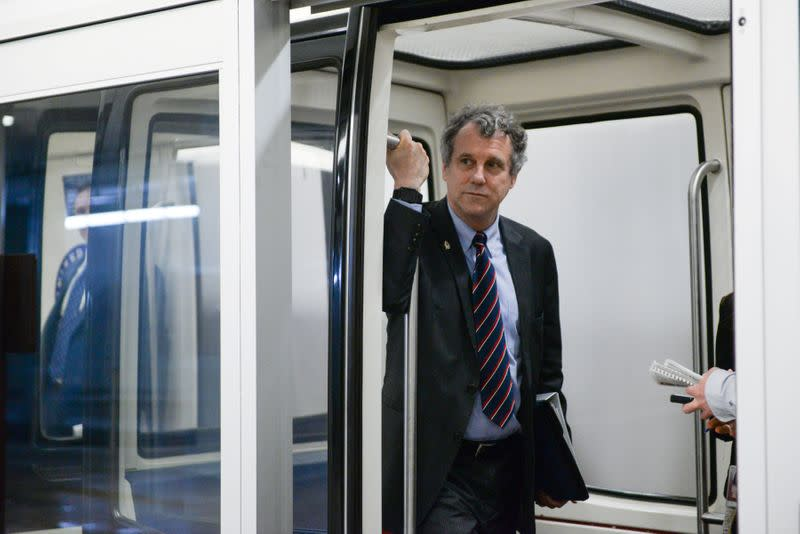 Senator Brown rides the U.S. Capitol subway in Washington