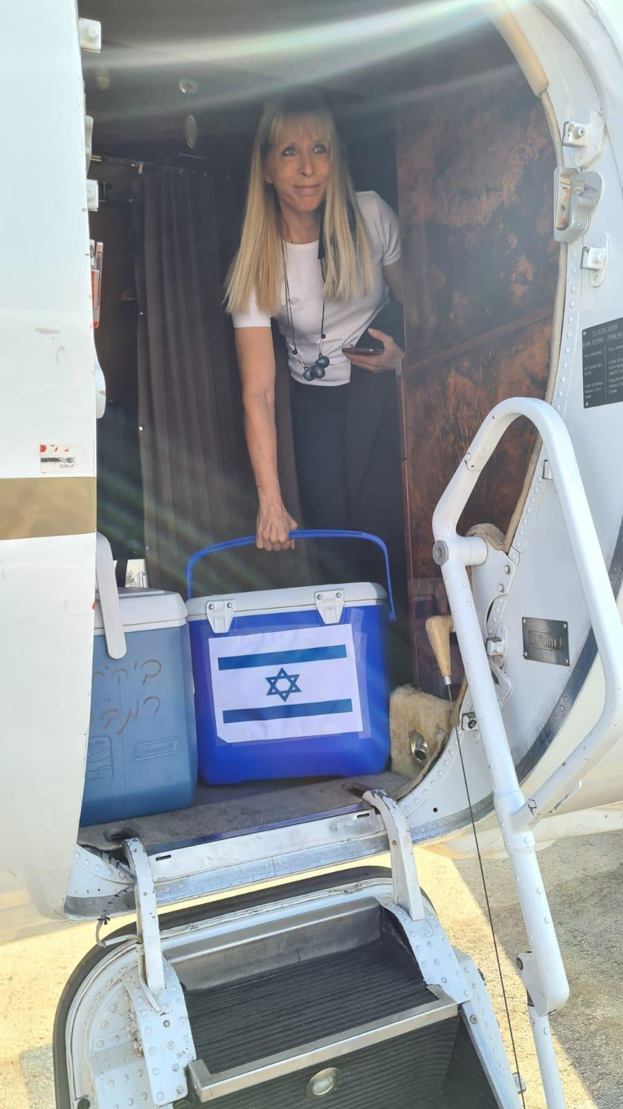 Tamar Ashkenazi, managing director of the Israel National Transplant Center, steps off the private jet used to shuttle a kidney from a living Jewish donor to an ailing Arab mother she did not know. The exchange between nations with typically chilly relations was historic, seeing three sets of donors helping three unknown recipients, regardless of nationality or religion.