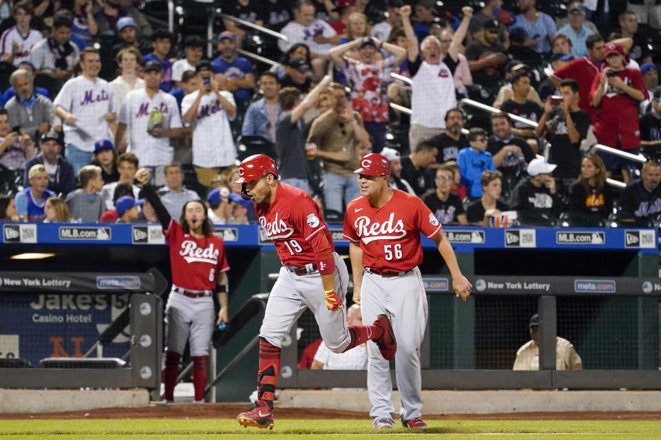 Cincinnati Reds' Joey Votto (19) runs the bases after hitting a solo home run in the sixth inning of the baseball game against the New York Mets, Friday, July 30, 2021, in New York. (AP Photo/Mary Altaffer)