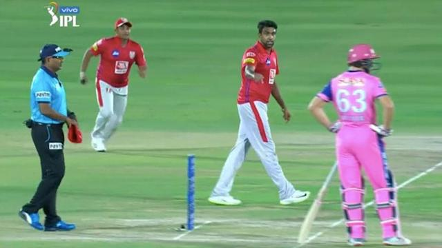 Ravi Ashwin let Jos Buttler know he was out of crease as the crowd erupted. Pic: BCCI
