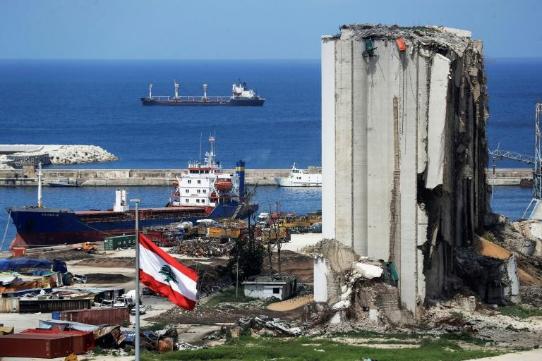 The damaged grain silos at the port of the Lebanese capital Beirut, still reeling from last August's mega-blast
