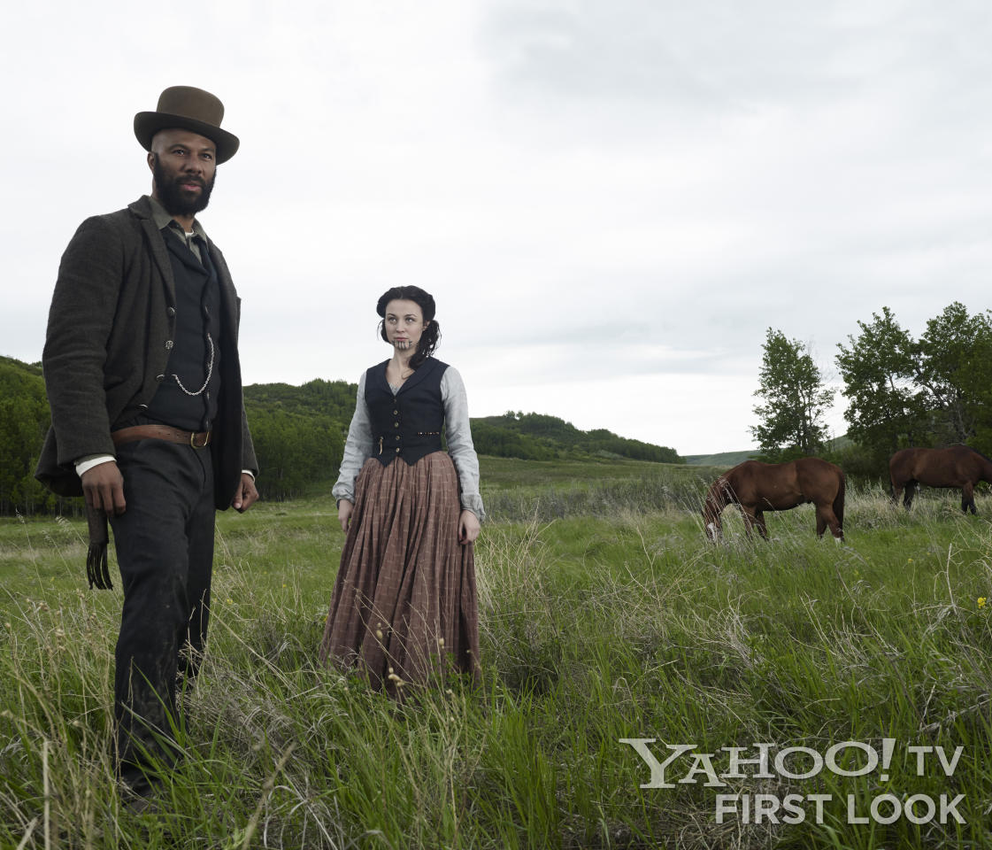 "Elam Ferguson (Common) and Ruth (Kasha Kropinski) in AMC's ""Hell on Wheels"" Season 3."
