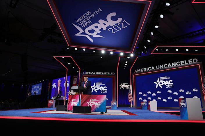 <p>Former US President Donald Trump addresses the Conservative Political Action Conference (CPAC) held in the Hyatt Regency on 28 February 2021 in Orlando, Florida</p> (Getty Images)