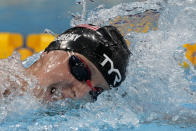 Katie Ledecky of the United States swims in the women's 1500-meters freestyle final at the 2020 Summer Olympics, Wednesday, July 28, 2021, in Tokyo, Japan. (AP Photo/Martin Meissner)