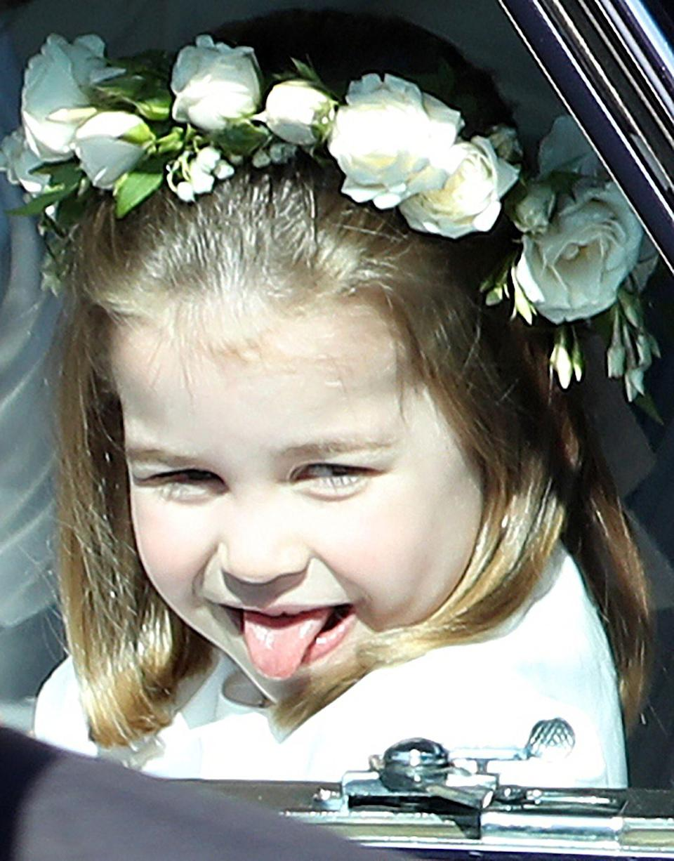 "<p>While it's hardly a crime, Princess Charlotte looked less than regal when she cheekily <a href=""https://www.harpersbazaar.com/celebrity/latest/a20758286/princess-charlotte-sticks-out-tongue-prince-harry-royal-wedding/"" rel=""nofollow noopener"" target=""_blank"" data-ylk=""slk:stuck her tongue out"" class=""link rapid-noclick-resp"">stuck her tongue out</a> at Prince Harry and Meghan Markle's royal wedding in May 2018. Still, we can't help but stan a mischievous princess.</p>"
