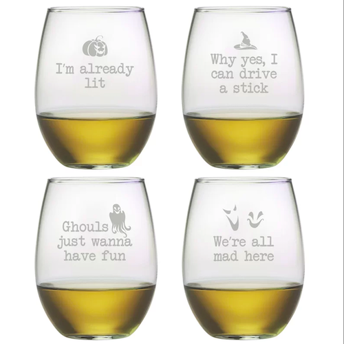 The Holiday Aisle Shingleton Ghoul's Night Out 4-Piece 21oz Stemless Wine Glass Set