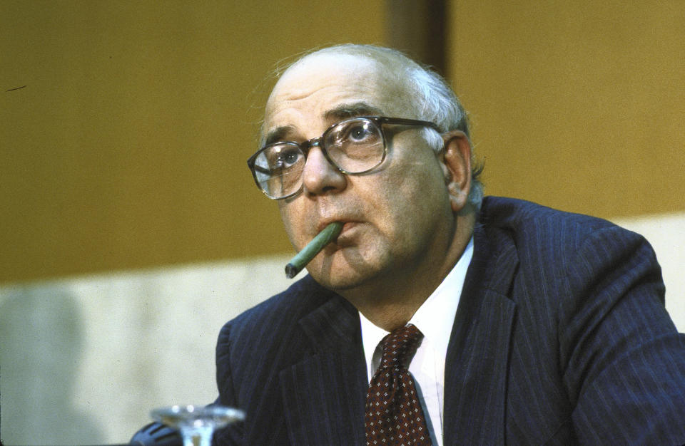 UNITED STATES - JUNE 01:  Federal Reserve Chairman Paul Volcker before council of Americas at State Dept.  (Photo by Diana Walker/The LIFE Images Collection via Getty Images)