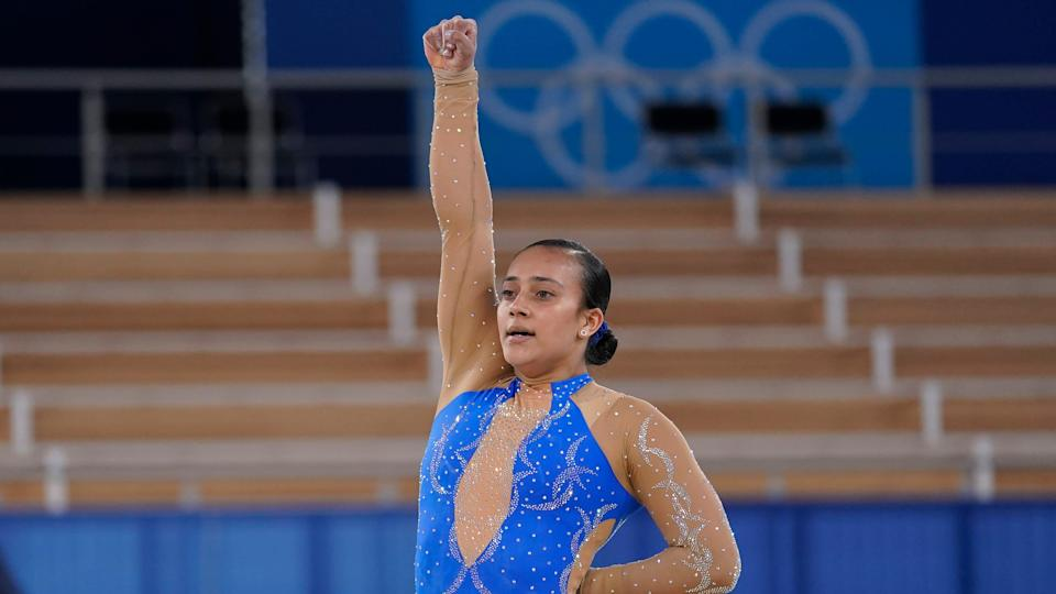 Luciana Alvarado of Costa Rica raises her first on the floor exercise during the women's artistic gymnastic qualifications at the 2020 Summer Olympics on July 25.