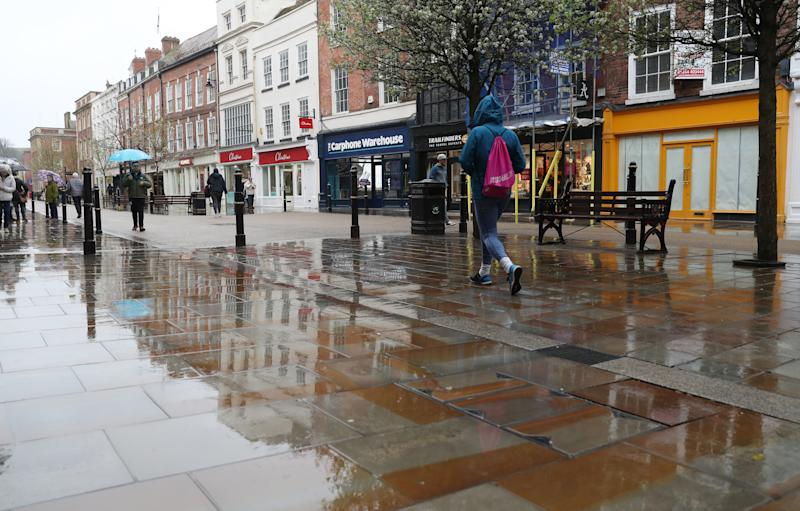 Worcester high street during the normally busy lunch hour, as the death toll from coronavirus in the UK reached 71 people.