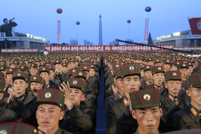 <p>Soldiers gather in Kim Il Sung Square in Pyongyang, North Korea on July 6, 2017, to celebrate the test launch of North Korea's first intercontinental ballistic missile two days earlier. The North's ICBM launch, its most successful missile test to date, has stoked security worries in Washington, Seoul and Tokyo as it showed the country could eventually perfect a reliable nuclear missile capable of reaching anywhere in the United States. Analysts say the missile tested Tuesday could reach Alaska if launched at a normal trajectory. (Photo: Jon Chol Jin/AP) </p>