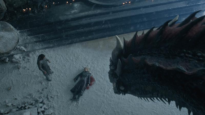 Aerial shot of Dragon looking at Jon Snow over Daenerys' dead body on Game of Thrones' series finale | Helen Sloan—HBO