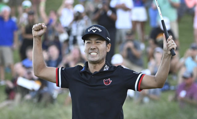 Kevin Na celebrates after winning the Shriners Hospitals for Children Open golf tournament on the second playoff hole Sunday, Oct. 6, 2019, in Las Vegas. (AP Photo/David Becker)