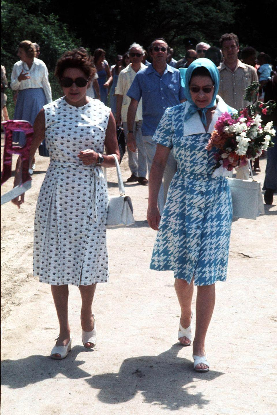 <p>Princess Margaret and Queen Elizabeth II arriving on the island of Mustique. The princess had a villa on the private island and spent many holidays there. </p>