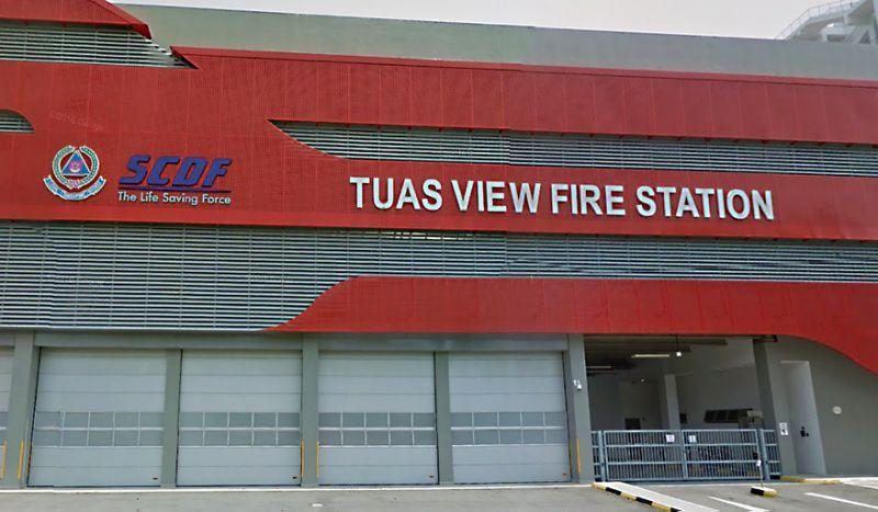 The Tuas View Fire Station where Corporal Kok Yuen Chin died during a celebration for his impending ORD on 13 May, 2018. (Google Street View screengrab)