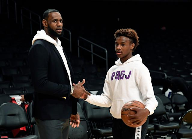 Bronny James had an eventful first day on Instagram. (Photo by Kevork Djansezian/Getty Images)