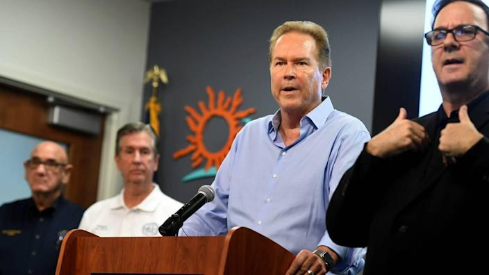 U.S. Rep. Vern Buchanan addressed a crowd at a press conference on July 6 when the area was watching Hurricane Elsa. Buchanan, R-Longboat Key, has mild symptoms and is quarantining at home after testing positive for COVID-19. The 70-year-old lawmaker was fully vaccinated.