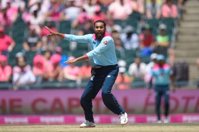 England's Adil Rashid appeals. (Photo by CHRISTIAAN KOTZE/AFP via Getty Images)