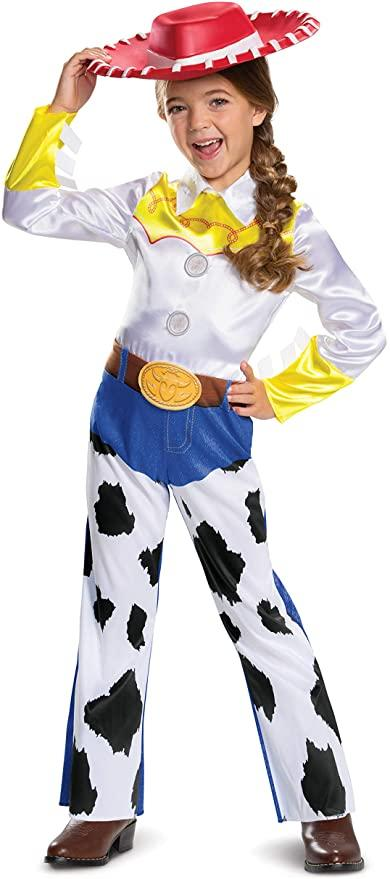 Young girl wearing Disney Toy Story Toddler Jessie Classic Costume.