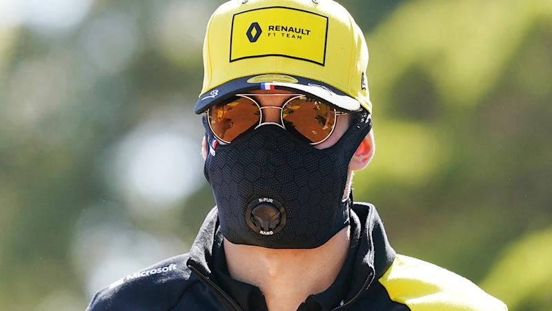Renault driver Esteban Ocon, pictured here wearing a face mask ahead of the Australian Grand Prix.