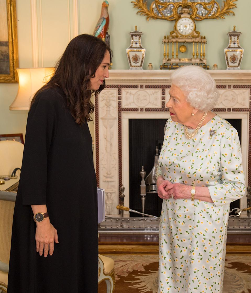 Prime Minister of New Zealand Jacinda Ardern (L) is greeted by Britain's Queen Elizabeth II during a private audience at Buckingham Palace in London on April 19, 2018. - Queen Elizabeth II, the Head of the Commonwealth opened the Commonwealth summit for what may be the last time today. (Photo by Dominic Lipinski / POOL / AFP)        (Photo credit should read DOMINIC LIPINSKI/AFP via Getty Images)