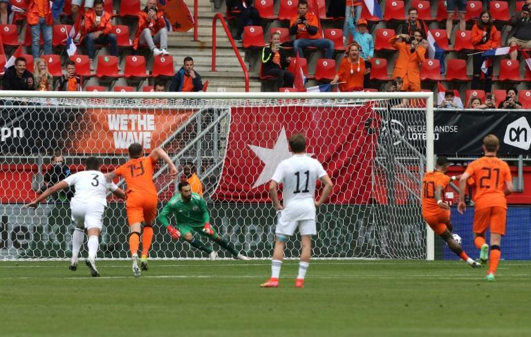 Memphis Depay opened the scoring for the Netherlands against Georgia