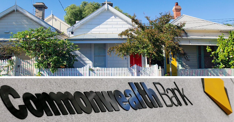 Suburban bungalow houses and the Commonwealth Bank logo