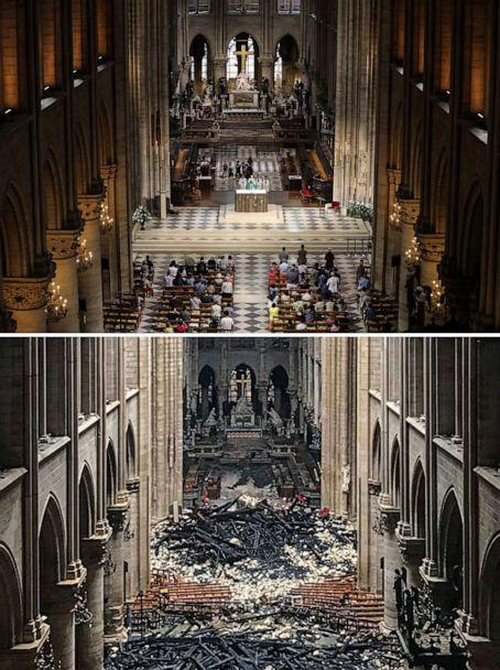 PHOTO: A combination of two pictures shows people attending a mass at the Notre-Dame de Paris Cathedral in Paris on June 26, 2018 and bottom, an interior view of the Notre-Dame Cathedral in Paris in the aftermath one day after a fire on April 16, 2019. (Ludovic Marin/AFP/Getty Images)