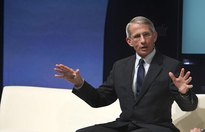 """<span class=""""caption"""">Fauci is an accomplished scientist who also excels at connecting with the public.</span> <span class=""""attribution""""><a class=""""link rapid-noclick-resp"""" href=""""https://newsroom.ap.org/detail/WashingtonIdeasForum/429cb8132c184c1fbd3ccbe28a3dc87d/photo?boardId=d7f2514f50804466b15dfb81ed00d9cd&st=boards&mediaType=audio,photo,video,graphic&sortBy=&dateRange=Anytime&totalCount=26&currentItemNo=8"""" rel=""""nofollow noopener"""" target=""""_blank"""" data-ylk=""""slk:AP Photo/Cliff Owen"""">AP Photo/Cliff Owen</a></span>"""