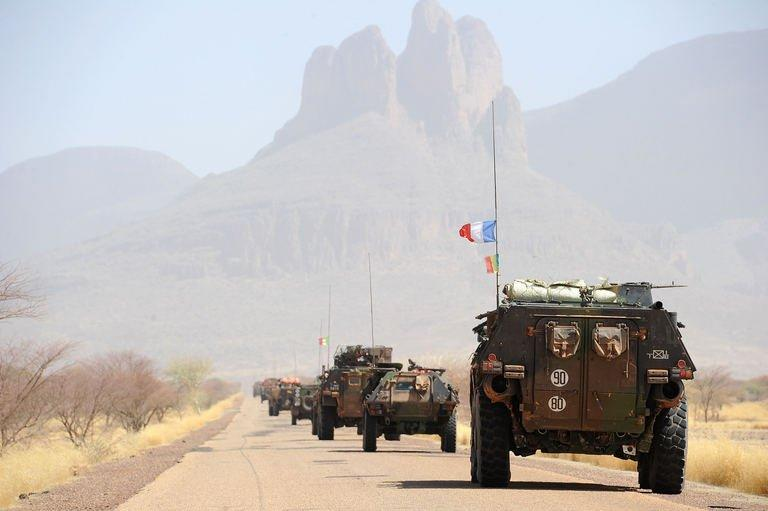 A convoy of French army vehicles head towards Gao on February 7, 2013 on the road from Gossi. French and Chadian troops have pushed to the far northeast of Mali, up to the mountain range where Islamists fighters are thought to be holed up with seven French hostages