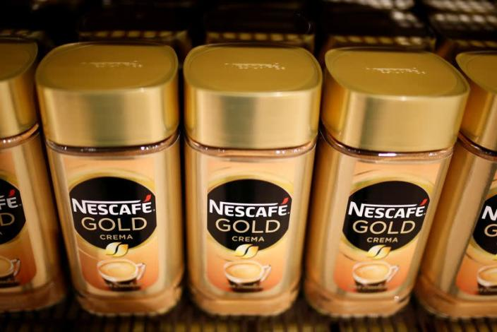 FILE PHOTO: Jars of Nescafe Gold coffee by Nestle are pictured in the supermarket of Nestle headquarters in Vevey