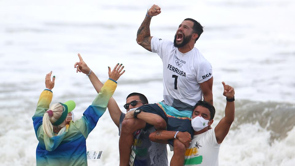 Underdog Italo Ferreira is surfing's first Olympic champion (Picture: Reuters)