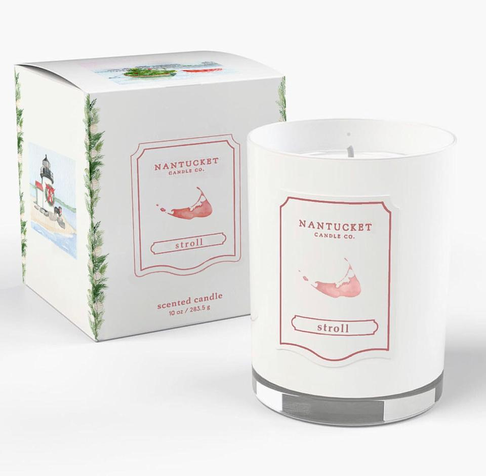 Nantucket Candle Co. Christmas Stroll luxury scented candle with artwork by Meredith Hanson; $65. nantucketcandleco.com