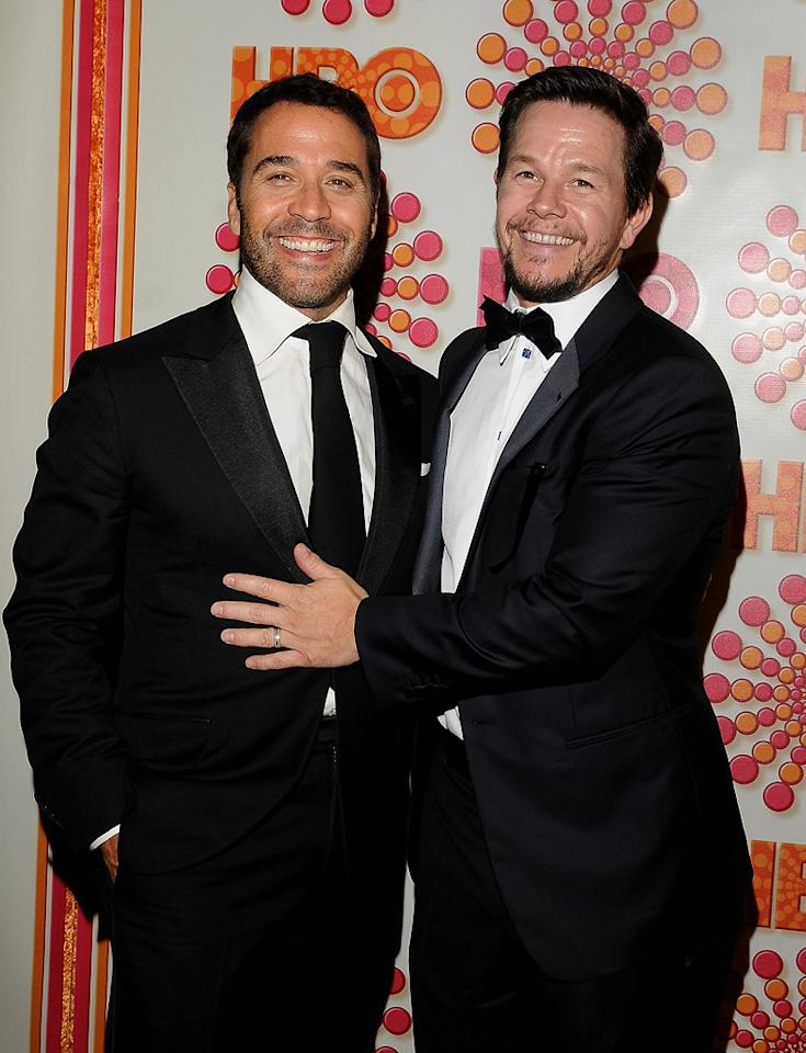 """""""Entourage"""" mastermind and executive producer Mark Wahlberg hugged it out with cast member Jeremy Piven at HBO's star-studded soiree. Mark Sullivan/<a href=""""http://www.wireimage.com"""" target=""""new"""">WireImage.com</a> - September 18, 2011"""