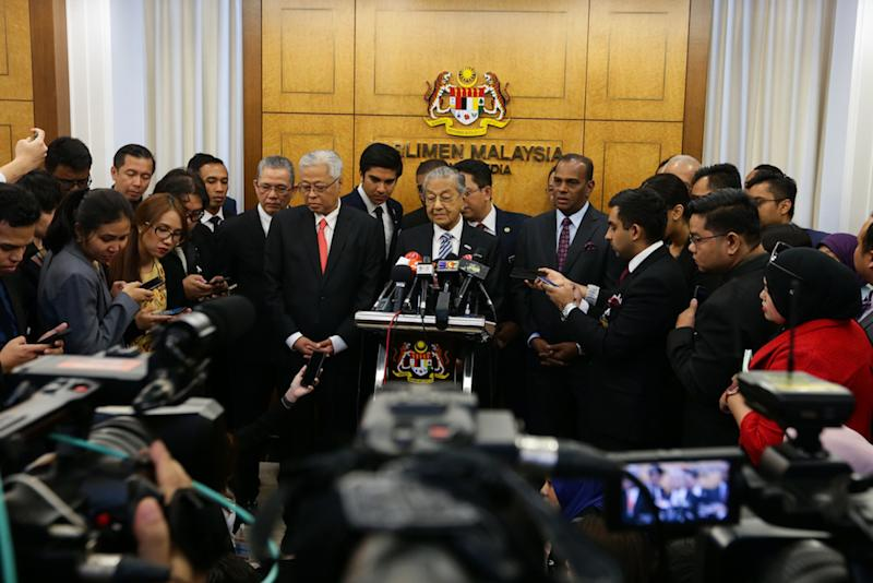 Tun Dr Mahathir Mohamad holds a press conference in Parliament July 10, 2019. — Picture by Ahmad Zamzahuri