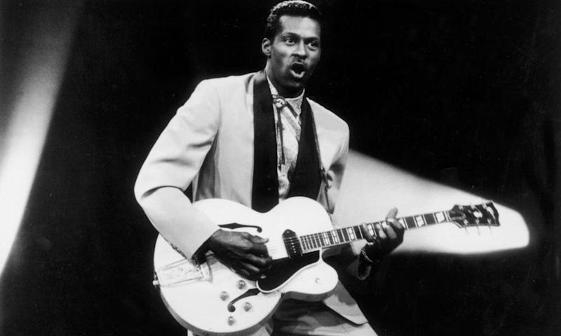 Chuck Berry performing in the mid-1950s.
