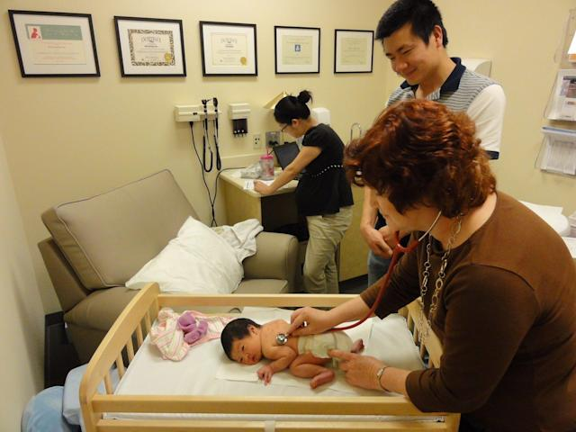 An employee's baby is getting seen at the SAS Health Care Center. (Courtesy of SAS)