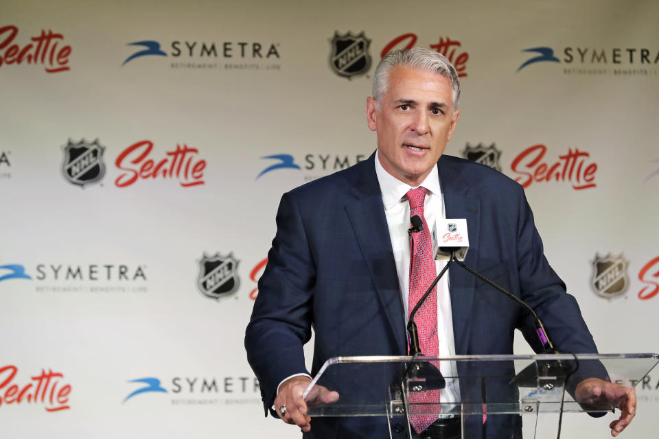 Ron Francis talks to reporters, Thursday, July 18, 2019, in Seattle after he was introduced as the first general manager for Seattle's yet-to-be-named NHL hockey expansion team. (AP Photo/Ted S. Warren)
