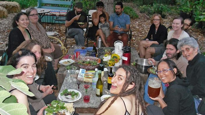"""Members of the Los Angeles Eco-Village having a potluck meal with neighbors <p class=""""credit"""">Los Angeles Eco-Village </p>"""