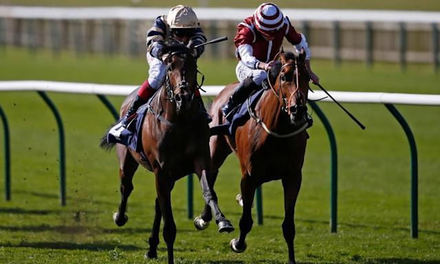 """<span class=""""element-image__caption"""">Khalidi, left, ridden by Frankie Dettori, holds off Salouen in the Feilden Stakes at Newmarket.</span> <span class=""""element-image__credit"""">Photograph: Alan Crowhurst/Getty Images</span>"""