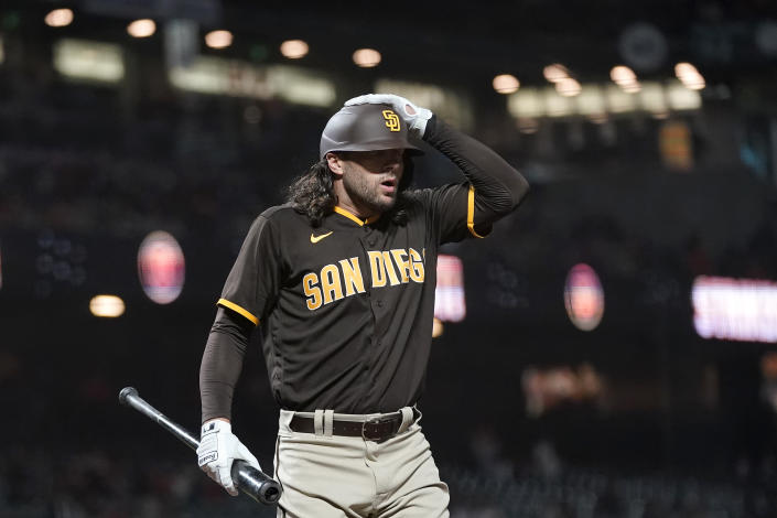 San Diego Padres' Jake Marisnick reacts after striking out against the San Francisco Giants during the seventh inning of a baseball game in San Francisco, Monday, Sept. 13, 2021. (AP Photo/Jeff Chiu)