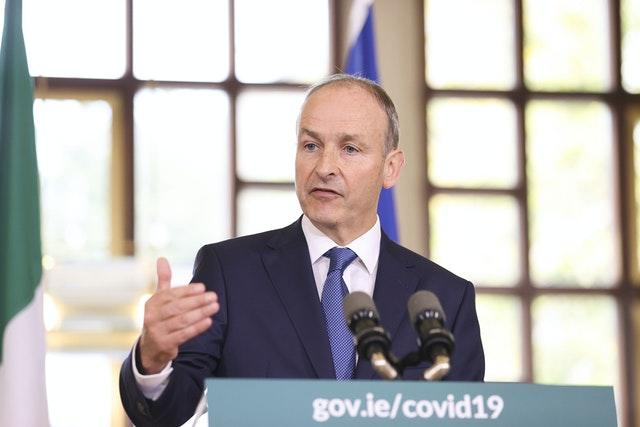 Taoiseach Micheal Martin speaking in Dublin at the unveiling of the Irish government's blueprint for living with Covid-19