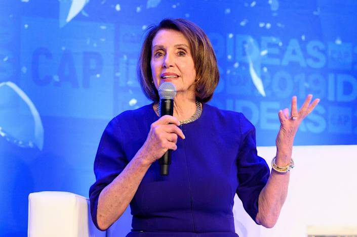 WASHINGTON, DC, UNITED STATES - 2019/05/22: House Speaker Nancy Pelosi (D-CA) speaking at The Center for American Progress CAP 2019 Ideas Conference. (Photo by Michael Brochstein/SOPA Images/LightRocket via Getty Images)
