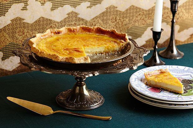 """Fresh ginger and cinnamon flavor this pie's filling, and there's plenty of toasty depth from a sesame-seed crust. <a href=""""https://www.epicurious.com/recipes/food/views/spiced-custard-pie-with-sesame-crust-51253210?mbid=synd_yahoo_rss"""" rel=""""nofollow noopener"""" target=""""_blank"""" data-ylk=""""slk:See recipe."""" class=""""link rapid-noclick-resp"""">See recipe.</a>"""