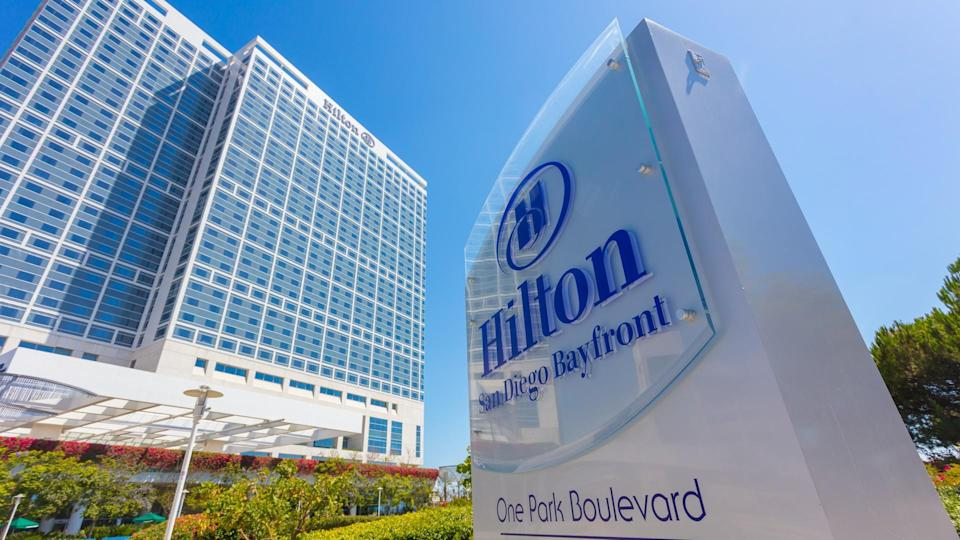 An editorial stock photo of the San Diego Bay Front Hilton Hotel.