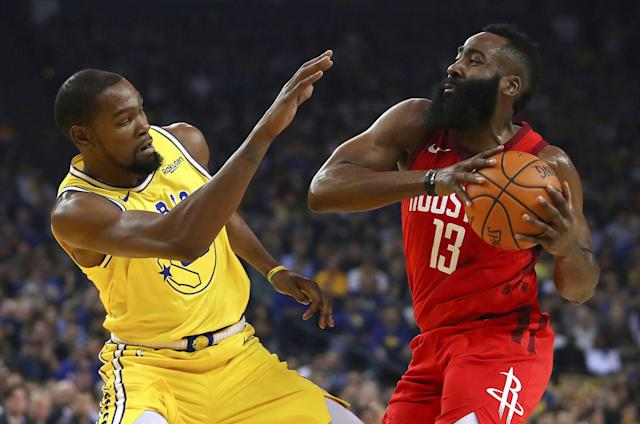 Kevin Durant doesn't have a problem with James Harden's style of basketball. (AP)